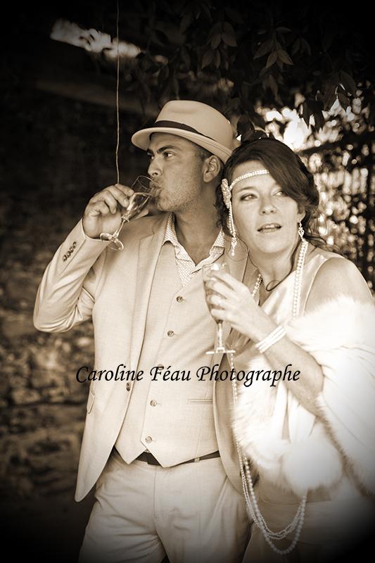 M et A au vin d'honneur thème années 20 Angers Tours CF Photographe