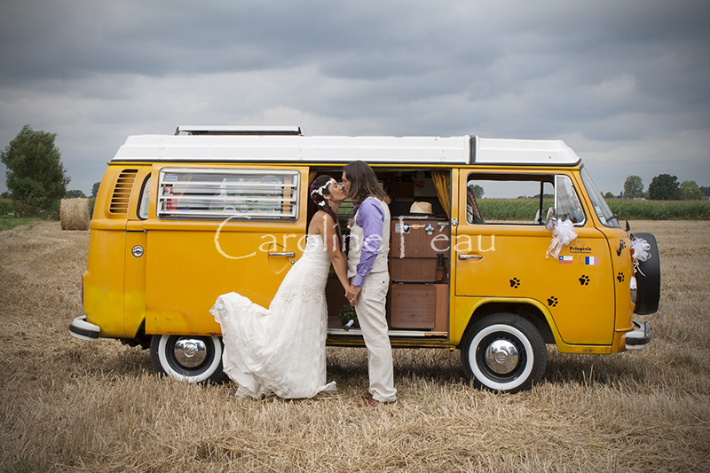 photographe mariage couple combi volkswagen CF Photographe