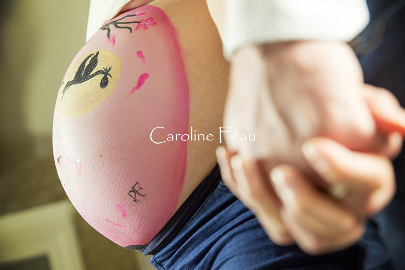 Grossesse Maternité Belly painting CF Photographe